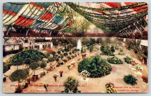 Chicago Illinois~Flower Show in Coliseum~Garland Drapes Across Room~Garden~1908