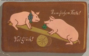 Pigs on a see-saw, PU-1914; Viel Gluck!
