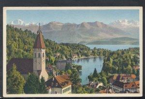Switzerland Postcard - Schlosskirche Thun Mit Thunersee, Jungfrau   T9655
