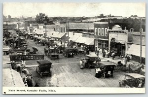 Granite Falls MN~Main Street Numbered Auto Parade~Gunds Beer~Drug Store~c1912