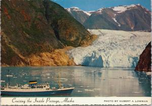 Cruise Ship Inside Passage Tracy Arm Alaska AK Ship Boat Vintage Postcard D35