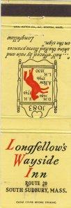 South Sudbury, Massachusetts/MA Match Cover, Longfellow's Wayside Inn