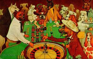 Nevada Las Vegas Dunes Hotel Dressed Dogs Playing Roulette 1963