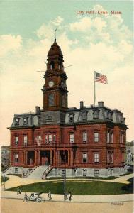 Lynn Massachusetts~Clock & Bellower on City Hall~1910 Postcard