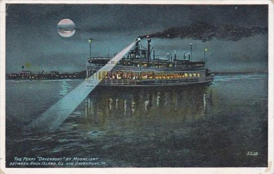 Ferry Davenport By Moonlight Between Rock Island Illinois and Davenport Iowa
