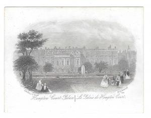 Hampton Court Palace 1851 Steel LIne Engraving Views of London J T Wood Print