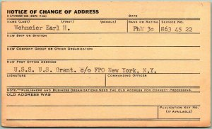 1945 WWII NAVY DEPARTMENT Business Postcard Change of Address Form w/ Cancel
