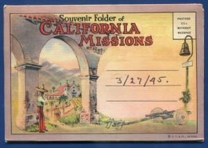 California Missions ca EL Carmel San Gabriel Dolores postcard folder 1920s