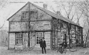 H11/ Brown's Valley Minnesota Postcard 1909 First House Log Cabin Man Tricycle