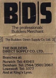 Kings Lynn Norfolk Dereham Builders Old Matchbox Label