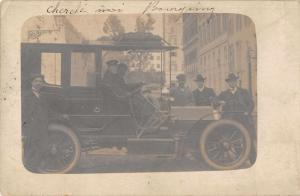 Italy Man Driving Old Auto Real Photo Antique Postcard J67626