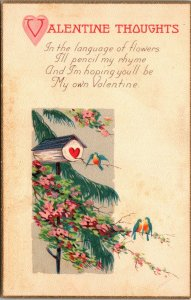 1900s VALENTINE'S DAY Postcard  THOUGHT BIRD HOUSE - VINTAGE SERIES 1081 C