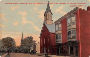 E81/ Martins Ferry Ohio Postcard c1910 4th St Catholic German Church 3