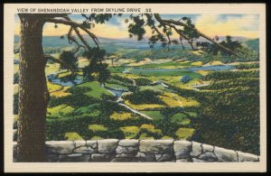 View of Shenandoah Valley from Skyline Drive, Virginia. Vintage linen postcard