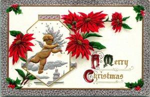 Vtg Carte Postale Un Joyeux Noël - Angelot & Pointsettas en Relief