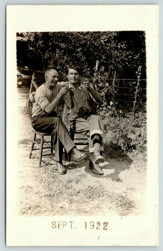 RPPC This Is My Uncle George; We're Just Relaxing, Sipping Some Spirits~1922 PC