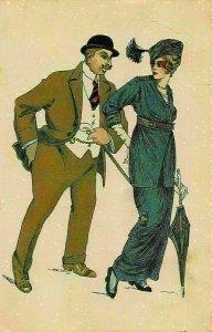 Art Deco Couple Gentleman in Suit, Woman Umbrella Made in Italy Postcard
