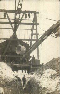 Swea City Iowa IA Construction Scene c1910 Real Photo Postcard xst