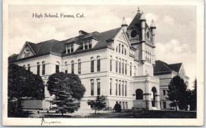 Fresno California Postcard HIGH SCHOOL Building View Bergman 1915 Cancel