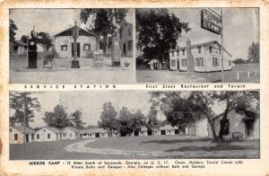 Savannah Georgia~Mirror Camp~Roadside Cottages~Cafe~Amoco Gas Station~1940s B&W