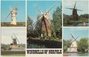 Windmills of NORFOLK, used Postcard