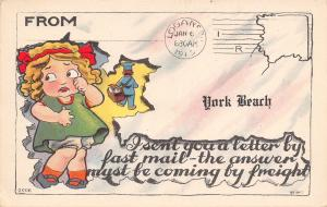 Fast Mail from York Beach Maine~Answer by Freight~Girl in Tears~Mailman~1914