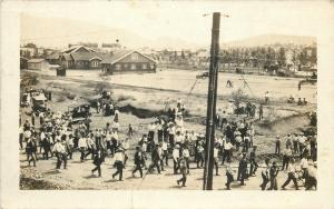 Circus Setup~Workers Rigging the Big Top Pole~Crowd Watching~Cars~1915 RPPC