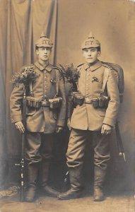 Two German Soldiers in Uniform Real Photo Military Unused