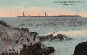 Massachusetts Rockport Twin Lighthouses Thatchers Island Curteich