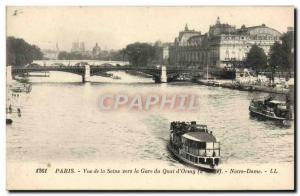 Old Postcard Paris View Of The Seine To The Gare Du Quai d & # 39Orsay Notre ...