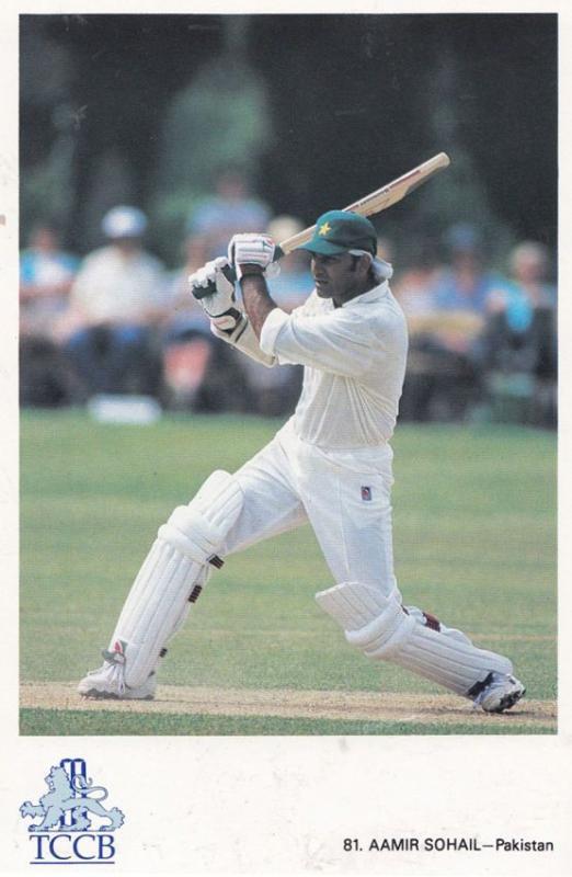 Aamir Sohail Pakistan International Team Cricketer Cricket Postcard