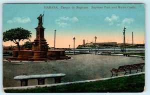 HAVANA, CUBA ~ Morro Castle NEPTUNE PARK Parque c 1910s   Postcard
