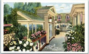 Akron, Ohio Advertising Postcard Heepeto Flowers Metropolitan Building c1930s