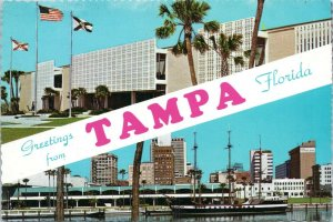 Greetings from Tampa Florida Multi View Large Postcard 1970s USF Skyline MP