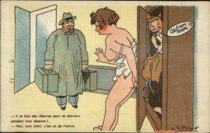 French Nude Woman Cheating w/ Soldier Caught by Husband V. Spahn Postcard