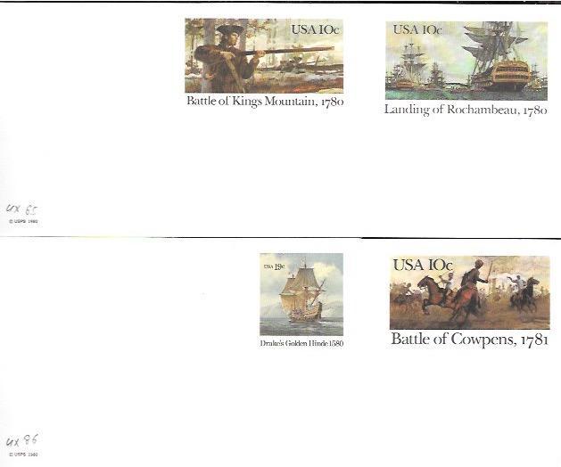 US Mint Pre-stamped Postcards UX84-UX87 Great set.