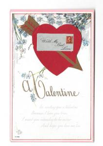 Valentine Heart and Envelope Add-On Vintage Poem Postcard
