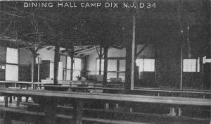 Camp Dix New Jersey~Dining Hall~Bucket Hanging from Ceiling~Tables~c1910 PC