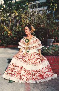 Panama Beautiful Lady Wearing Pollera National Costume Of Panama