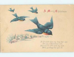 Pre-Linen christmas GROUP OF BLUEBIRD BIRDS FLIES OVER WINTER SCENE hr2763