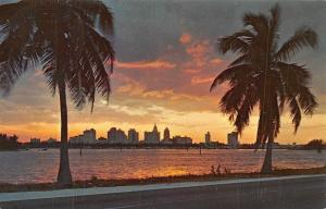 USA Sunset over Miami Florida Panoramic view Road
