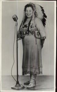 Native American Woman in Costume w/ Mic Microphone Real Photo Postcard
