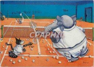 Postcard Modern Tennis Cat Elephant