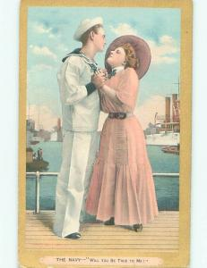 Pre-Linen PRETTY GIRL EMBRACING WWI ERA NAVY SAILOR AC5147