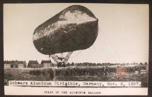 Mint Germany RPPC REal Picture Postcard Schwarz Aluminium Balloon Dirigible