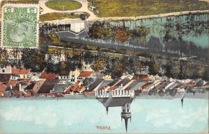 Policka Czech Republic birds eye view town area waterfront antique pc Z42004