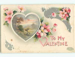 Unused Pre-Linen valentine COUNTRY BRIDGE SCENE INSIDE HEART k9296