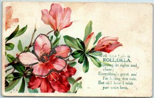 Vintage ROLL, Oklahoma Greetings Postcard Pink Flowers / Glitter c1910s