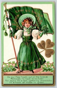 St Patrick's Day~Irish Lass in Green~Flag Floats on Breeze~Sunbonnet~Gold Emboss