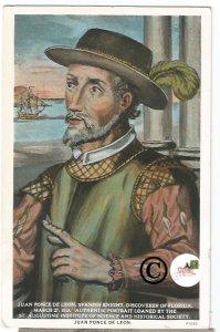 Vintage Postcard Juan Ponce De Leon Curteich Spanish Knight discover of Florida